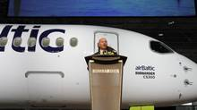 Alain Bellemare, chief executive officer of Bombardier Inc., speaks during a news conference in Mirabel, Que. on Nov. 28, 2016. (Valerian Mazataud/Bloomberg)