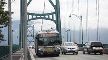 The BC Liberals have promised to cap bridge tolls at $500 per vehicle, while the BC NDP have pledged to eliminate tolls altogether as the parties compete for suburban votes. (Jimmy Jeong For The Globe and Mail)