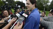 Newly signed Montreal Canadiens Daniel Briere speaks to reporters at the team's annual golf tournament on Tuesday Sept. 3, 2013, in Laval, Que. (Ryan Remiorz/THE CANADIAN PRESS)