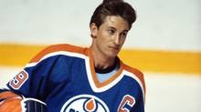 Edmonton Oilers' Wayne Gretzky warms up before a game against the Toronto Maple Leafs in Toronto in 1984. (The Canadian Press)