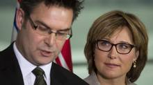 British Columbia Premier Christy Clark, right, makes an education announcement with Education Minister Don McRae in Vancouver on Oct. 17, 2012. (John Lehmann/The Globe and Mail)