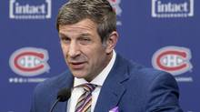 Montreal Canadiens general manager Marc Bergevin pauses as he comments on the team's coaching change during a news conference, in Brossard, Que., on Wednesday, February 15, 2017. (Paul Chiasson/THE CANADIAN PRESS)