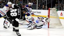 Cam Talbot of the Edmonton Oilers blocks a shot on goal by Jarome Iginla of the Los Angeles Kings during the second period of a game at Staples Center on April 4, 2017 in Los Angeles, California. (Sean M. Haffey/Getty Images)
