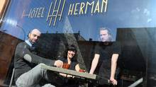 From left, co-owners Dominic Goyet and Ariane Lacombe, and chef Marc-Alexandre Mercier, of Hotel Herman in Montreal. (Christinne Muschi for The Globe and Mail)