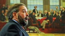Opposition Leader Thomas Mulcair addresses the NDP on Parliament Hill on May 2, 2012. (Sean Kilpatrick/Sean Kilpatrick/The Canadian Press)