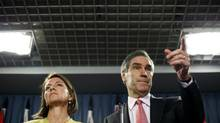 Liberal Leader Michael Ignatieff and MP Martha Hall Findlay take questions during a news conference in Ottawa on Sept. 25, 2009. (BLAIR GABLE/Reuters)