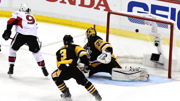 Bobby Ryan scores the overtime winner for the Ottawa Senators against the Penguins in Game 1 of their third-round playoff series Saturday in Pittsburgh.