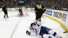 The Boston Bruins' Zac Rinaldo has been suspended for five games, without pay, for an illegal check to the head of Tampa Bay Lightning forward Cedric Paquette on Sunday, Feb. 28, 2016. (Michael Dwyer/AP)