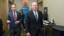 Kevin Turner, world wide chief operating officer for Microsoft, right, walks to a meeting in the Delta Toronto on Tuesday, June 2, 2015. (Matthew Sherwood for The Globe and Mail)