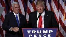 U.S. President-elect Donald Trump and running mate Mike Pence address their election night rally in Manhattan, New York, U.S., November 9, 2016. (MIKE SEGAR/REUTERS)