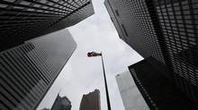 Looking up at four of Canada's major banks from the southwest corner of King Street West and Bay Street in Toronto on March 30, 2015. (Fred Lum/The Globe and Mail)