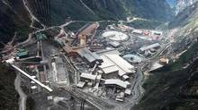 An aerial view of a giant mine run by U.S. firm Freeport-McMoran Copper & Gold Inc., at the Grasberg mining operation, in Indonesia's Papua province. Freeport said it expects to reach higher ore grades at the Grasberg mine in late 2013, which should result in higher copper and gold sales. (REUTERS)