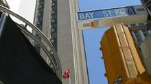 Several of the office towers being bought by Dundee REIT are along Toronto's Bay Street, in the city's financial district. (DEBORAH BAIC/THE GLOBE AND MAIL)