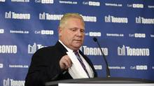 Councillor Doug Ford arrives for a press conference on May. 1. (Fred Lum/Fred Lum/The Globe and Mail)