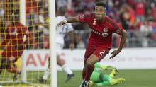 Toronto FC's Justin Morrow turns to celebrate after scoring his team's game-tying goal against the Philadelphia Union during second half MLS action, in Toronto on Saturday, September 24, 2016. (Chris Young/THE CANADIAN PRESS)
