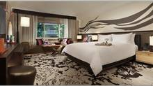 Rooms at the Nobu Hotel feature walls displaying evocative Japanese Hitsuzendo calligraphy.
