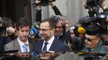 James Costos, the U.S. ambassador in Spain, leaves the foreign ministry after being summoned to a meeting with Spain's European Secretary of State in Madrid October 28, 2013. The U.S. National Security Agency (NSA) recently tracked over 60 million calls in Spain in the space of a month, a Spanish newspaper said on Monday, citing a document which it said formed part of papers obtained from ex-NSA contractor Edward Snowden. (JUAN MEDINA/REUTERS)