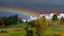 A rainbow forms over the Mount Washington Hotel in Bretton Woods, N.H on October 15. 2005. (JIM COLE/THE ASSOCIATED PRESS)