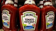 Heinz tomato ketchup product line the shelves of a West Mifflin, Pa., market on Aug. 31, 2006. (GENE J. PUSKAR/AP)