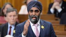 Defence Minister Harjit Sajjan answers a question in the House of Commons in Ottawa on April 13, 2016. (Adrian Wyld/THE CANADIAN PRESS)