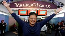 Yahoo CEO Jerry Yang gives the Yahoo! gesture in the Yahoo booth after he gave his keynote address at the Consumer Electronics Show (CES) in Las Vegas, Monday, Jan. 7, 2008. (Paul Sakuma/Paul Sakuma/AP)