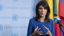 United States ambassador to the United Nations Nikki Haley speaks to reporters at UN headquarters on Feb. 16, 2017. (Mary Altaffer/AP)