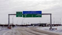 The Canadian side of the Canada-U.S border crossing, where refugees make their way into the province, in Emerson, Manitoba. (LYLE STAFFORD/REUTERS)