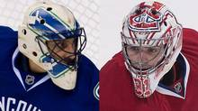 Roberto Luongo of the Vancouver Canucks and Carey Price of the Montreal Canadiens