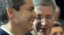 Ontario Premier DaltonMcGuinty, left, and Prime Minister Stephen Harper are seen at the Toyota plant in Cambridge, Ont. Wednesday, January 23, 2013. The two were on hand to announce new investment in the production of hybrid vehicles. (Kevin Van Paassen/The Globe and Mail)