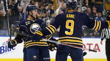 Buffalo Sabres center Johan Larsson (22) celebrates his goal during the second period against the Calgary Flames with teammates at KeyBank Center. (Timothy T. Ludwig/USA Today Sports)