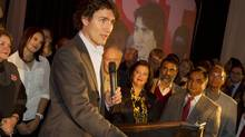 Liberal leadership candidate Justin Trudeau greets an audience in Hamilton on Oct. 10, 2012. (Peter Power/The Globe and Mail)