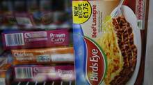 A package of Birds Eye Beef Lasagne 400g is displayed in the freezer of a convenience store in London February 22, 2013. Frozen food maker Birds Eye said it would withdraw some products in Britain and Ireland. (LUKE MACGREGOR/Reuters)