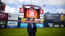 Jake Kerr, owner of the Vancouver Canadians Single A baseball team, is photographed on the baseball field at Nat Bailey Stadium in Vancouver, Monday, June 18, 2012. (Rafal Gerszak/The Globe and Mail)
