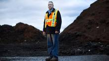 Jeff Leach operations manager Harvest Power takes food scraps from all over Metro Vancouver and runs a big composting operations seen here at the plant in Richmond November 30, 2012. (John Lehmann/The Globe and Mail)