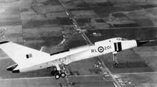 The CF-105 Avro Arrow, on a test flight over Toronto in 1958. (CP)