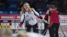 Canadian skip Chelsea Carey calls a shot during Draw 9 against Germany at the Women's World Curling Championship on Tuesday. (JONATHAN HAYWARD/THE CANADIAN PRESS)