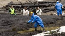 Day four of cleanup continues after 50 tonnes of bunker fuel spilled into a nearby estuary in Squamish, north of Vancouver, in 2006. (Rafal Gerszak for The Globe and Mail)