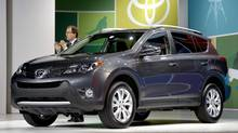 The 2013 Toyota RAV4 had its world debut at the LA Auto Show on Wednesday, Nov. 28, 2012. It will be built in Ontario. (Jae C. Hong/AP Photo)