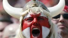 A Toronto FC fans celebrates his team's victory over Real Salt Lake during their Major League Soccer game in Toronto Saturday, April 19, 2008. THE CANADIAN PRESS/J.P. Moczulski (J.P. Moczulski)