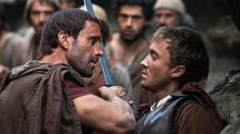 Joseph Fiennes, left, as Clavius, and Tom Felton as Lucius, seem to indulge in revisionist theology around the Resurrection. (Rosie Collins)