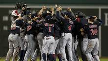 Cleveland Indians teammates celebrate after defeating the Cleveland Indians 4-3 in game three of the 2016 ALDS playoff baseball series at Fenway Park in Boston, MA on Monday, Oct. 10, 2016. (Greg M. Cooper/USA TODAY Sports)