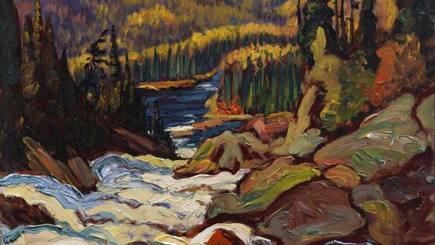Detail of an oil on paperboard sketch for Falls, Montreal River, by J.E.H. MacDonald, donated by Ephry and Melvin Merkur. (Vancouver Art Gallery)