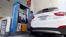 A Hyundai Tucson hydrogen fuel cell electric vehicle (FCEV) in Newport Beach, California. (Alex Gallardo/Reuters)