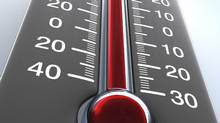 Degree of hotness, the thermometer shows the temperature on the ambience. Thermometer, Heat, Temperature, Cold, Weather, Fever, Red, Scale, Measuring, Mercury (iStockPhoto)
