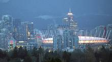 BC Stadium with the Vancouver skyline in Vancouver January 23, 2012. (John Lehmann/The Globe and Mail/John Lehmann/The Globe and Mail)