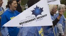 Long on discussion, short on political action:Pension reform protests outside a meeting of finance ministers in PEI in 2010. (ANDREW VAUGHAN/The Canadian Press)