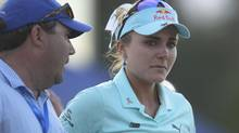 Lexi Thompson reacts following her loss in playoff against So Yeon Ryu during the final round of the ANA Inspiration golf tournament. (Gary A. Vasquez/USA Today Sports)