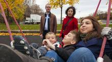 Burke Moffat and his wife Alejandra Bravo with their children (from left) Oscar, Felix and Galya. Mr. Moffat took six months of parental leave when Oscar was born. (Tim Fraser for The Globe and Mail/Tim Fraser for The Globe and Mail)