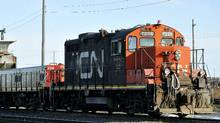 A CN locomotive makes it's way through the CN yard in Montreal. (Graham Hughes/THE CANADIAN PRESS)