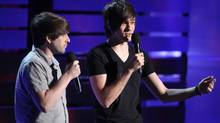 Ian Andrew Hecox, left, and Anthony Padilla of Smosh speak on stage during YouTube Comedy Week in Culver City, Calif., in 2013. (JC Olivera/WireImage)
